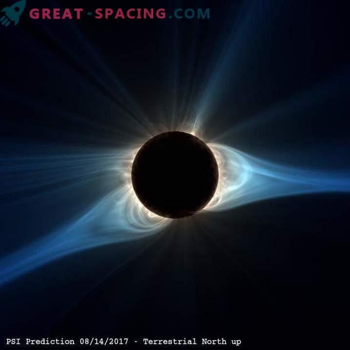 Modelo de computador do eclipse solar próximo